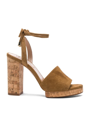 Valentino Suede Erin B Sandals in Bright Cuir