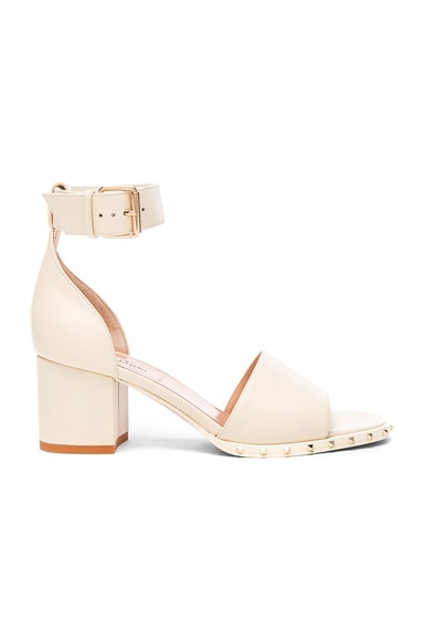Valentino Leather Soul Rockstud Sandals in Light Ivory