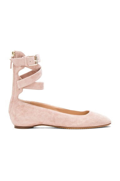 Suede Ankle Strap Flats Valentino