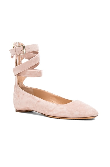 Suede Ankle Strap Flats