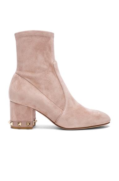Suede Rockstud Trim Heel Ankle Boots