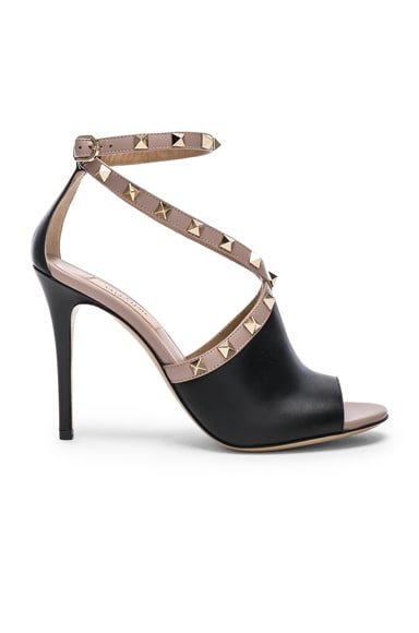 Leather Rockstud Open Toe Heels