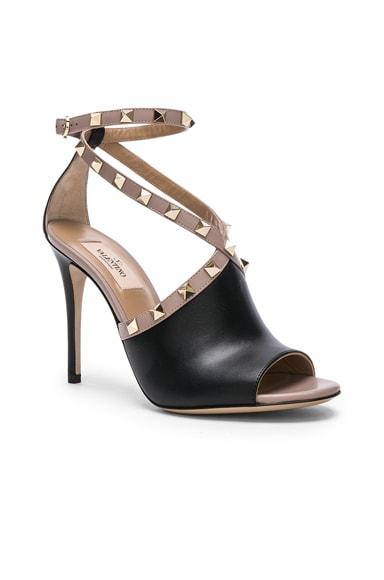 Leather Rockstud Open Toe Heels