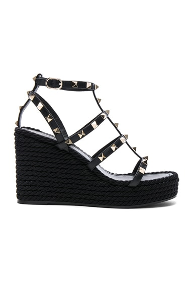 Leather Torchon Rockstud Espadrille Wedges