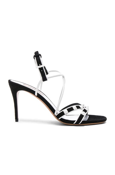 Free White Rockstud Ankle Tie Sandals