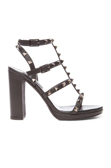 Noir Rockstud Leather Gladiator Heels T.95