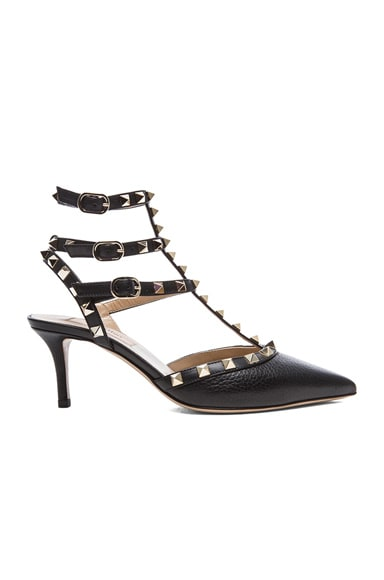 Rockstud Grained Leather Slingbacks T.65