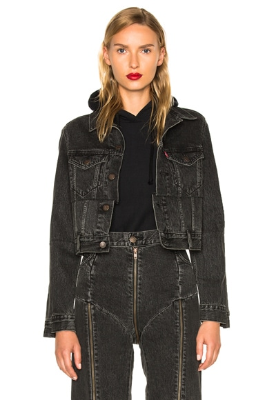 VETEMENTS x Levis Reworked Denim Jacket in Black