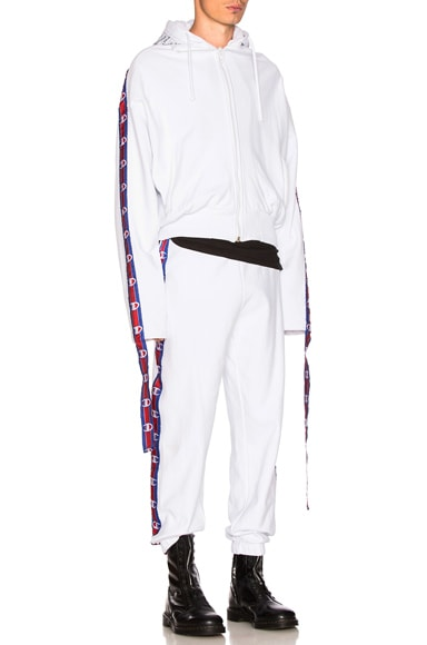 VETEMENTS x Champion Tape Zip Up Hoodie in White
