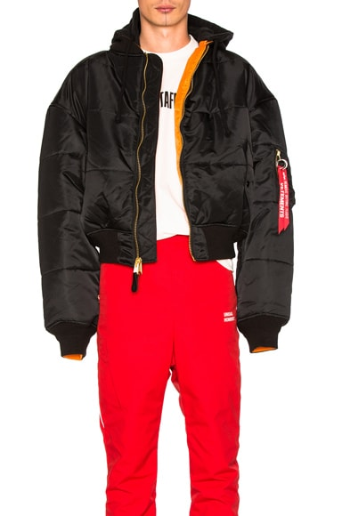 VETEMENTS x Alpha Industries Reversible Bomber Jacket in Black & Orange
