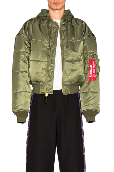 VETEMENTS x Alpha Industries Reversible Bomber Jacket in Green & Black