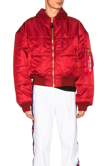 VETEMENTS x Alpha Industries Reversible Bomber Jacket in Red & Silver