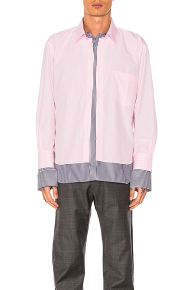 VETEMENTS x Comme Des Garcons SHIRT Shirt in Pink & Navy