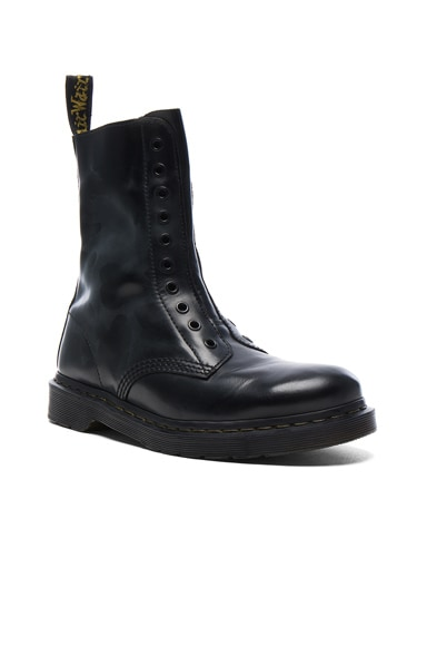 VETEMENTS x Dr. Martens Leather Borderline Boots in Black
