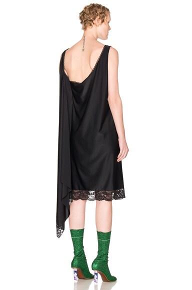 VETEMENTS Lace Trim Dress in Black