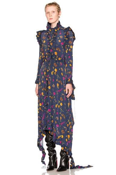 VETEMENTS Flower Print Dress in Navy