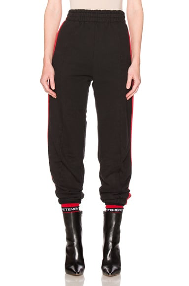 VETEMENTS Biker Sweatpants with Red Stripes in Black