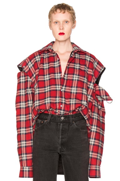 VETEMENTS Flannel Shirt in Red Check