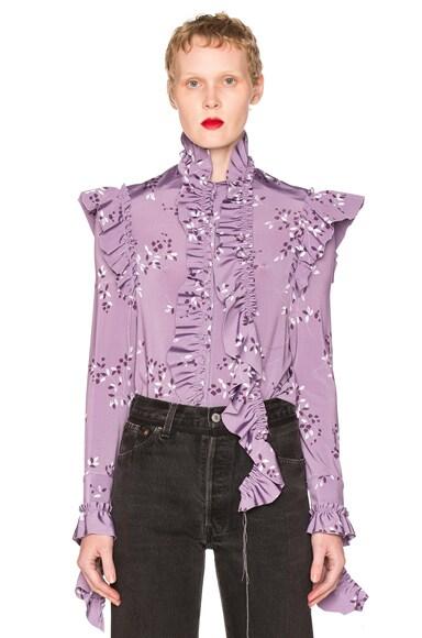 VETEMENTS Flower Print Blouse in Purple