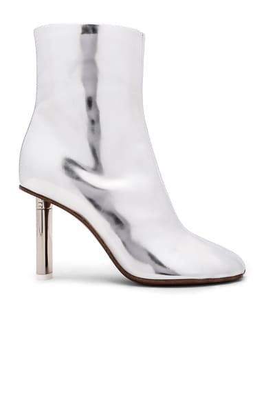 VETEMENTS Leather Toe Ankle Boots in Silver