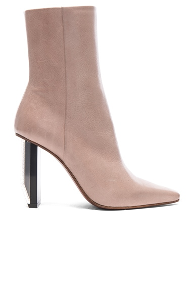 Reflector Heel Leather Ankle Boots