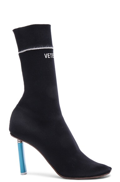 VETEMENTS Knit Sock Boot in Black