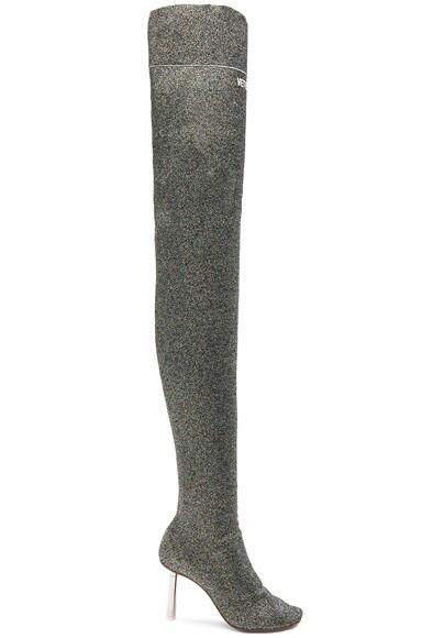 Lurex Thigh High Sock Boots