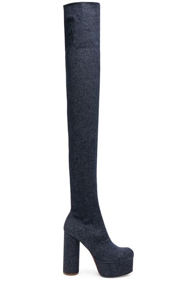 Denim Thigh High Platform Boots