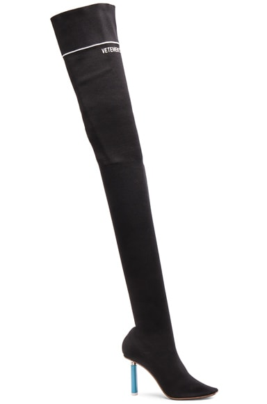 VETEMENTS Thigh High Sock Boots in Black