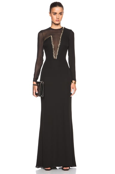 Plunging Neck Mesh Gown
