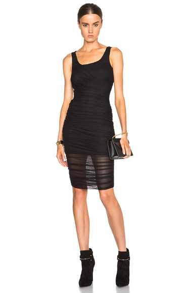 VERSACE Ruched Tank Dress in Black