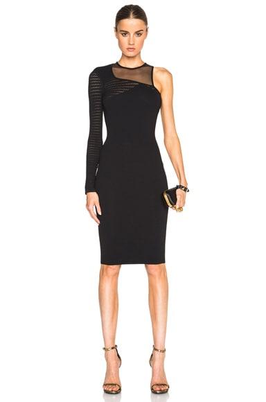 VERSACE One Shoulder Mesh Dress in Black