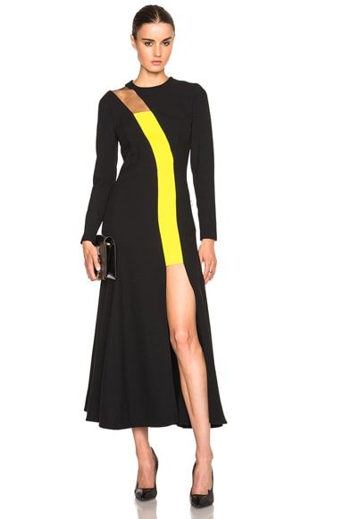 VERSACE Contrast Panel Dress in Black & Yellow