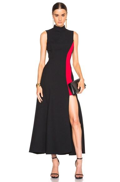 VERSACE Contrast Panel Dress in Black & Red