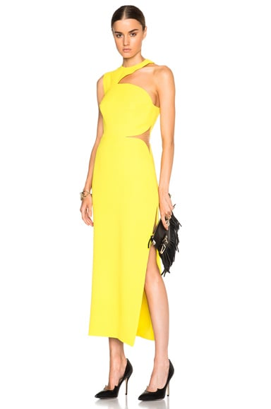 VERSACE Cut Out Shoulder Dress in Yellow
