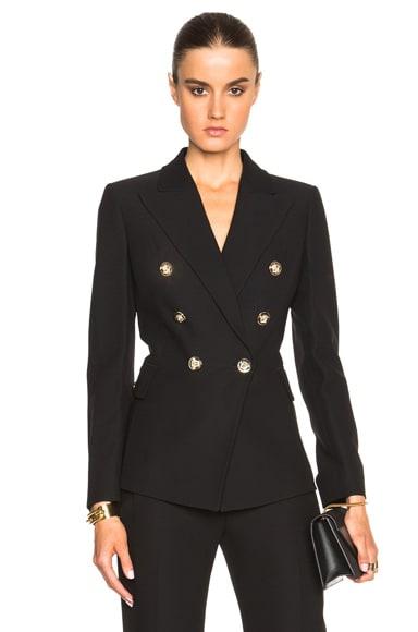 VERSACE Wide Lapel Double Breasted Blazer in Black