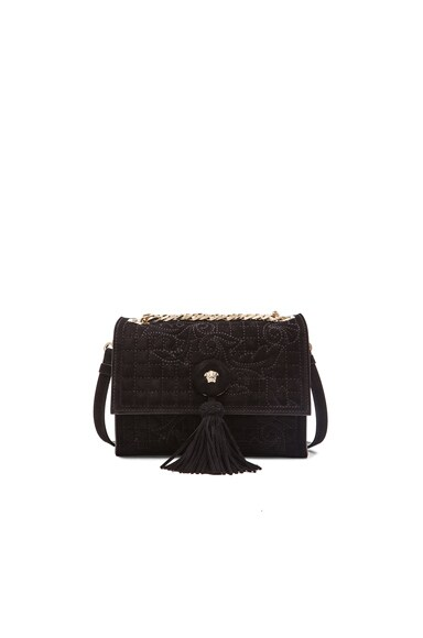 VERSACE Chain Handbag with Tassel in Black & Gold