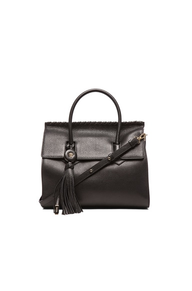 VERSACE Embossed Leather Satchel with Tassel in Black & Gold