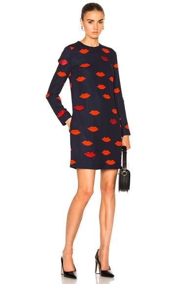 Victoria Victoria Beckham Patch Applique Shift in Navy & Red Scattered Lips