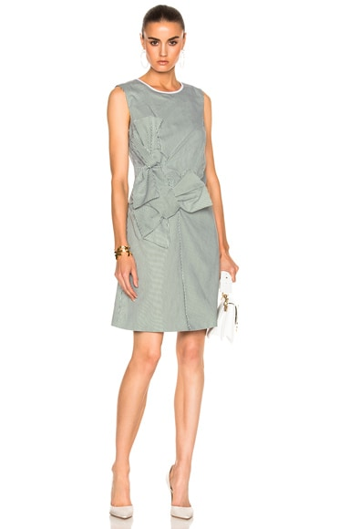 Victoria Victoria Beckham Double Knot Dress in Green & White
