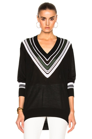 Victoria Victoria Beckham Oversize V Neck Sweater in Black & Multi