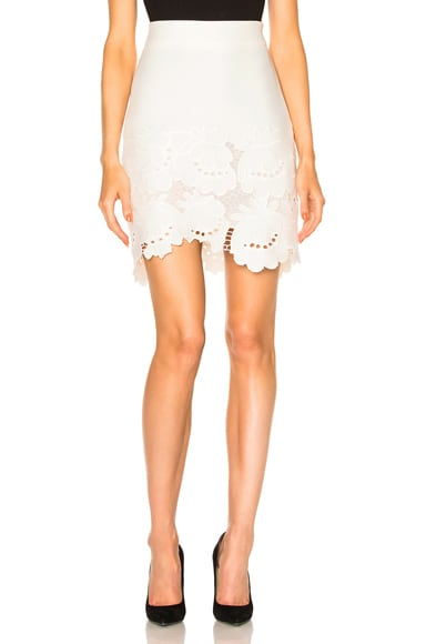 Victoria Victoria Beckham Delft Embroidered Hem Skirt in Ivory