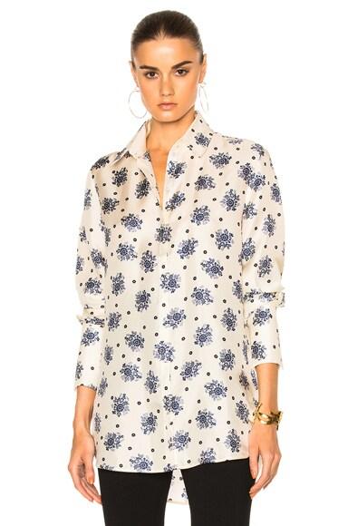Victoria Victoria Beckham Tux Cuff Shirt in Willow Pattern