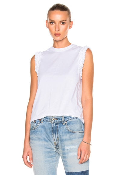 Victoria Victoria Beckham Ruffle Sleeveless Tee Shirt in White