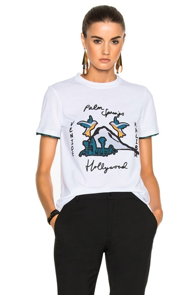 Victoria Victoria Beckham Classic Tee Shirt in White & Palm Springs Multi