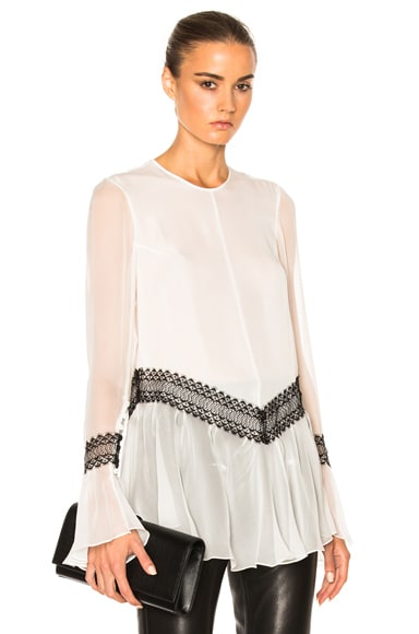 Wes Gordon Silk Trim Ruffle Top in White
