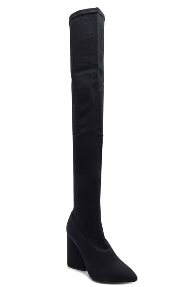 Stretch Canvas Thigh High Boots