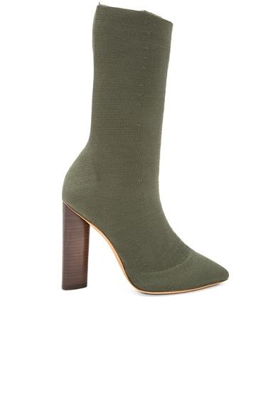YEEZY Season 2 Low Knit Boots in Dark Olive