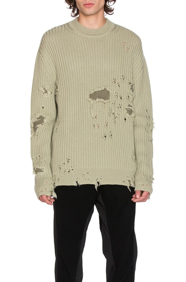 YEEZY Season 3 Destroyed Military Rib Sweater in Military Light