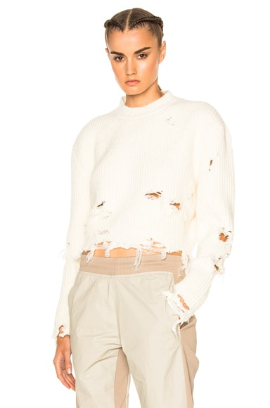YEEZY Season 3 Destroyed Crop Boucle Sweater in Off White